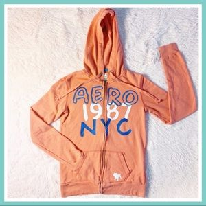 🌸 AERO 1987 NYC Peach Mango Color Zip-up Hoodie